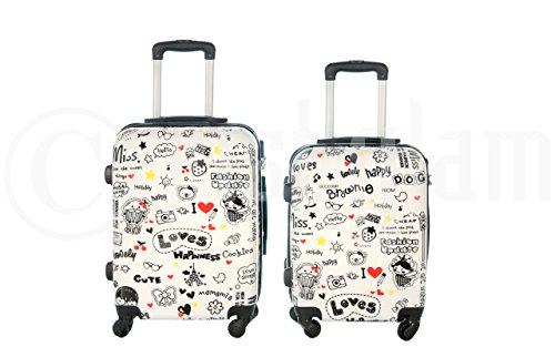 Maleta cabina 50 y 55 cm 4 ruedas trolley cascara dura adecuadas para vuelos de bajo coste art happiness