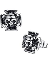 Stainless Steel Men's Biker Gothic Skull and Cross Stud Earrings- G1011QY1