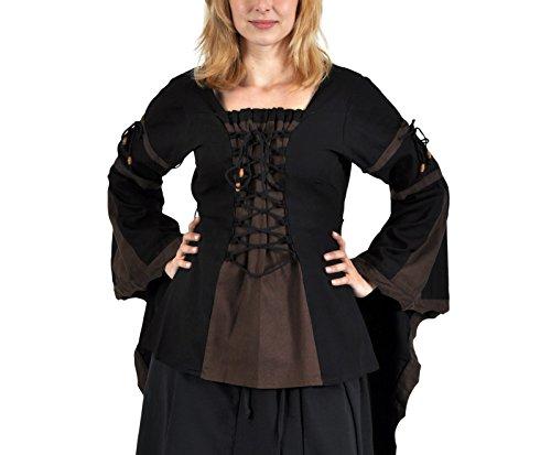 Elbenwald Blusa de diseño gótico Medieval corsé de, Negro/marrón