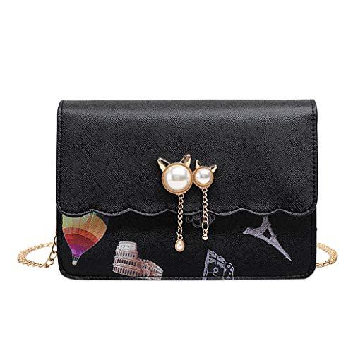 Mitlfuny handbemalte Ledertasche, Schultertasche, Geschenk, Handgefertigte Tasche,Damen Kette Umhängetasche Pearl Small Square Bag Casual Wild
