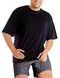 Übergröße - Herren Pyjama Langarm & Shorty Kurzarm Schlafanzug 100% Baumwolle bequem geschnitten in Grösse 58 bis 64