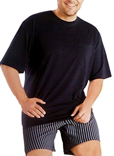 Übergröße - Herren Pyjama Kurzarm Shorty Nachtwäsche Oberteil schwarz mit gestreifter schwarz weißer kurzer Hose in Grösse 60, schwarz (Gestreifter Herren-pyjama)