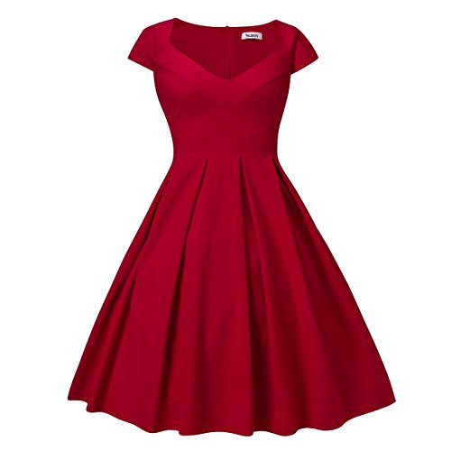 dilanni-womens-vintage-style-boat-neck-bow-half-sleeve-party-swing-dress