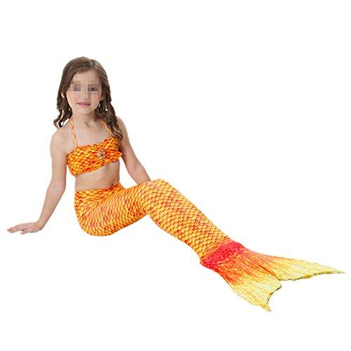 Imagen de prettycos 3pcs bikini traje de bano sirena princesa mermaid swimsuit disfraz de sirena cosplay naranja alternativa
