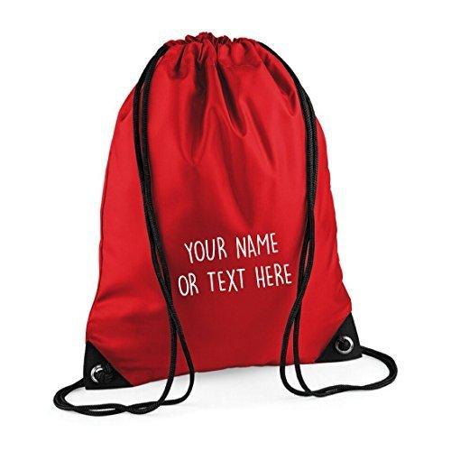 MYOG © Personalised Premium Drawstring Bag PE Gym Kit School P.E Kids Sport Rucksack (22 Colours) (Red)
