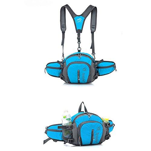 Hombres y Mujeres senderismo mochila de hombro cintura bolsa titular de la botella de agua resistente al agua 5maneras para uso, azul