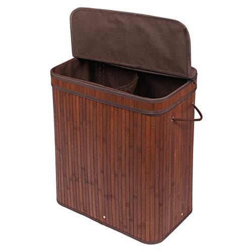 Meerveil Bambus Wäschekorb faltbar mit Deckel, 100L Wäschebox mit 2 Fächer, Wäschesammler mit abnehmbare Wäschesack aus Baumwolle, Braun