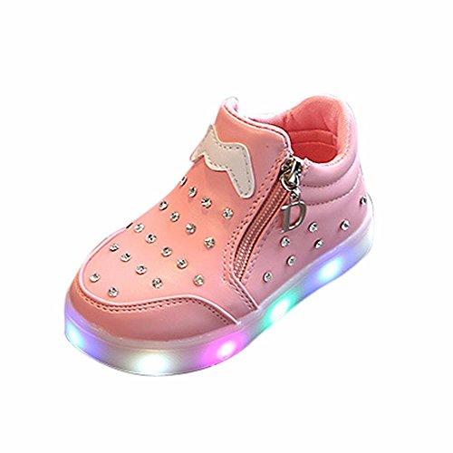 Doublehero Babyschuhe 1-6 Jahre Unisex Baby Junge Mädchen Zip Kristall LED Leuchten Leuchtende Turnschuhe Schuhe, Kinder Sport Lichter Blinkende Kinderschuhe (23/EU:22, Rosa) (23-kristall-licht)