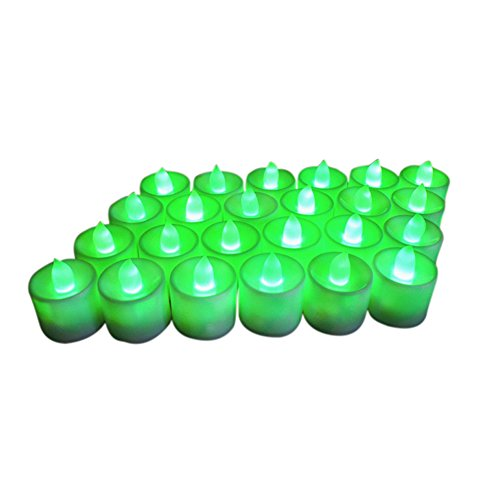 Cutogain 24 flammenlose LED-Teelichter, hell, flackernd, batteriebetrieben, künstliche Kerzen grün - Duft Grün