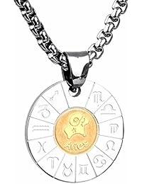 COPAUL Schmuck Edelstahl Tierkreis Sternzeichen Anhänger Kette Halskette für Herren Damen, Gold Silber