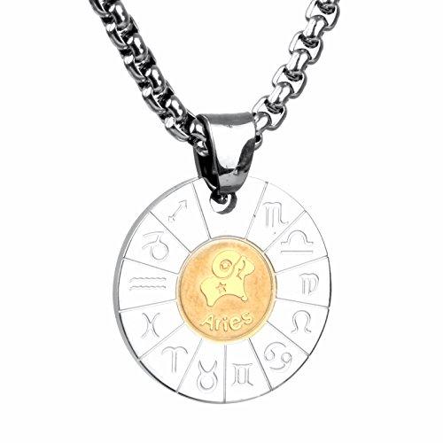 COPAUL Schmuck Edelstahl Tierkreis Sternzeichen Widder Anhänger Kette Halskette für Herren Damen, Gold Silber