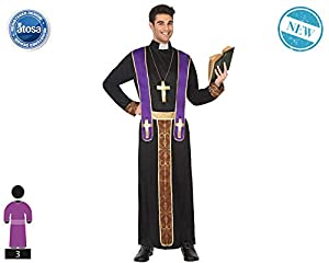 Atosa-62722 Atosa-62722-Disfraz Obispo-Adulto XL- Hombre- negro, Color (62722)