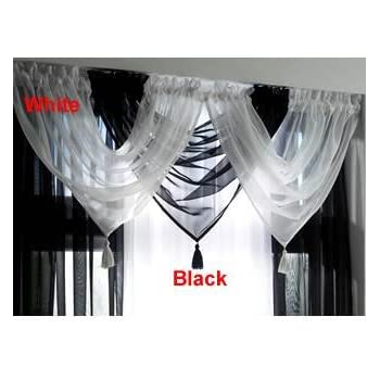 Voile Curtain Swag, Ready Made Tassled Swags, Sheer Curtain Swags (White)