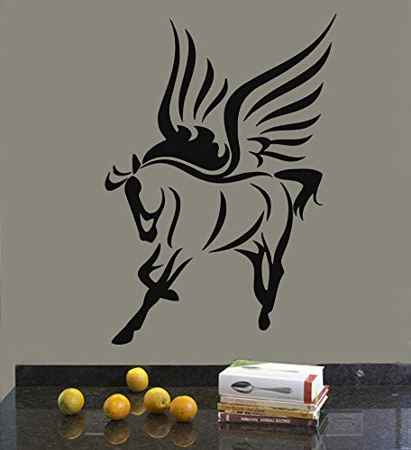 Wandtattoos Vinyl Aufkleber Aufkleber Wandbild Kunst Dekor Pegasus Fairy Horse mit Flügeln 81cm x 114cm (Horse Brille Racing)