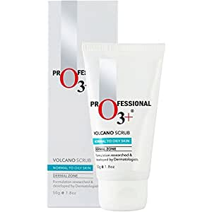 O3+ Volcano Scrub for Exfoliating, Excess Oil Control, Blackhead and Whitehead Removal - Brightening and Nourishment Scrub for Young, Fresher and Radiant Skin (50 gm)