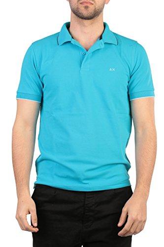 SUN68 Uomo Polo Maglia T-Shirt Primavera Estate Blu Art 16105 12 P16