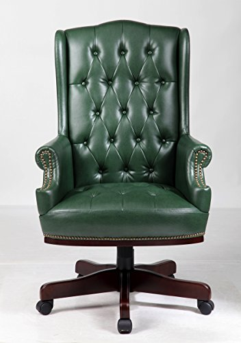LUXURY MANAGERS DIRECTORS CHESTERFIELD ANTIQUE CAPTAIN STYLE PU LEATHER OFFICE DESK CHAIR FURNITURE (ANTIQUE GREEN)
