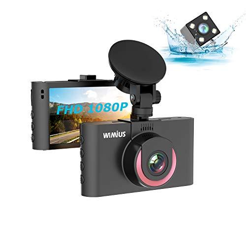 Dashcam, WiMiUS 1080P Full HD Autokamera vorne hinten, 170° Weitwinkelobjektiv, Loop-Aufnahme DVR Fahren Rekorder, mit WDR, Bewegungserkennung, Parkmonitoritor, Nachtsicht und G-Sensor