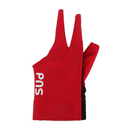 Red Spandex Pro Spieler Snooker-Billard-Queue-Handschuh Linke Hand Drei Finger