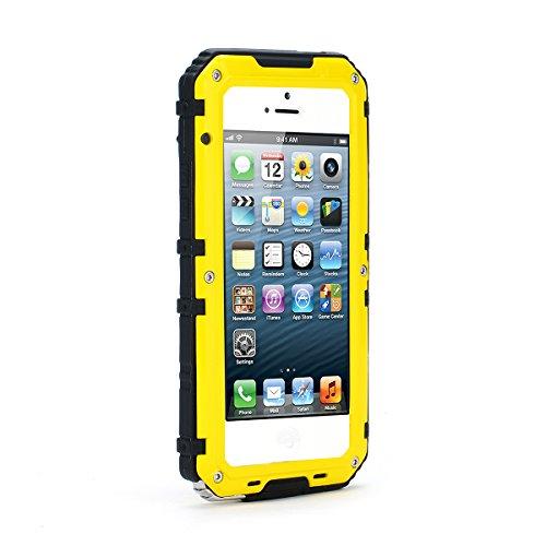 iPhone SE 5SE 5 5S Wasserdicht Hülle CaseFirst Ultra dünn [360 Grad] Kristall Weich Transparent [Dropproof Stoßfest] Handy Schutz [Fallen Wasserdicht] mit [Touched ID] Transparent [Displayschutzfolie] Sicher [Schutzmaßnahmen] - (Gelb)