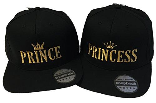 *Snapback bestickt mit Motiv Krone / PRINCE / PRINCESS in goldener Schrift Stickerei Partner-Cap für Sie & Ihn (PRINCE & PRINCESS)*
