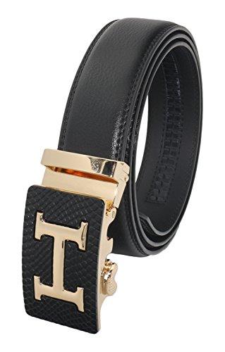 QHA Mens Automatic Leather H Belt For Men Buckle Waist Q5026