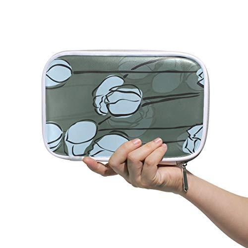 Montoj Tinte Lotus Bud Malerei Makeup Pinsel Tasche Federmäppchen mit Reißverschluss Große Kapazität Stift-Organizer -