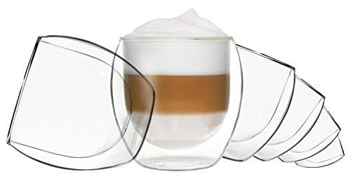 DUOS 6X 310ml Jumbo doppelwandige Gläser, Cappuchinogläser, Thermogläser - Set mit Schwebe-Effekt, auch für Latte Macchiato, Tee, Cocktails, EIS, Desserts UVM. geeignet by Feelino ...