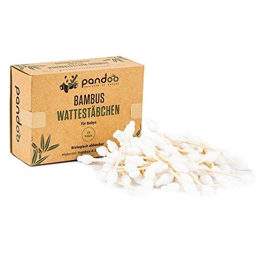 pandoo 4er Pack Bambus Wattestäbchen mit großem Sicherheitskopf | biologisch abbaubar, vegan & nachhaltig - 2