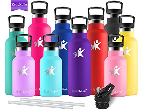 KollyKolla Botella de Agua Acero Inoxidable, Termo Sin BPA Ecológica Reutilizables, Botellas Termica con Pajita y Filtro, Water Bottle para Niños Deporte, Oficina, Yoga, (600ml Morado Oscuro)