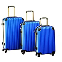 Discovery Smart Luggage Anti Scratch with Built-in Scale & 100m Chip Tracker, 3 Piece Set - RA808, Blue