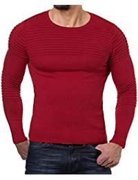 Yvelands Solid Color Plised Stripe Camiseta Hombre Guapo Personalidad Moda  Rayada Drape Knit O-Cuello f68623a6154d
