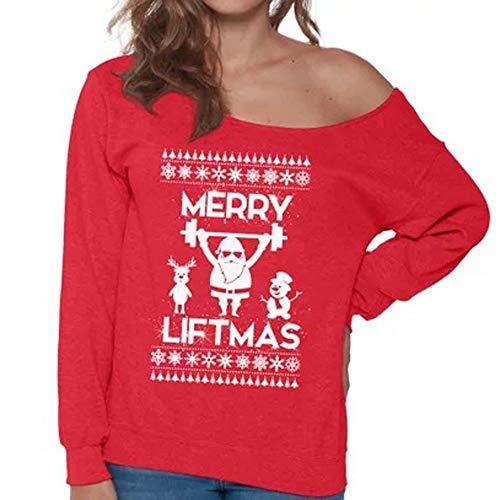 Mode Frauen Frohe Weihnachten Weihnachtsmann Gedruckt Top Oansatz Sweatshirt Bluse YunYoud damenbluse modische baumwolle blusenshirts schlupfbluse damenmode billige baumwollbluse -