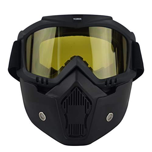 OLEEKA Motorradhelm Maske abnehmbare Schutzbrille mit Mundfilter für halboffene Vintage Helme Cosplay Maske