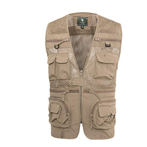 WTL Outdoor-Multi-Pocket-Weste Foto Angeln Weste Herren Weste Mesh dünnen Mantel (Color : Beige, Size : L)