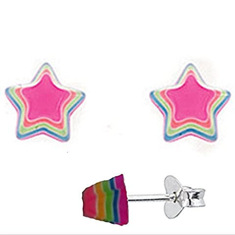 Silvadore - 925 Sterling Silver Stud Earrings Star Rainbow Pink Colour Fluorescent Pointy - Butterfly Clasp - Free Gift