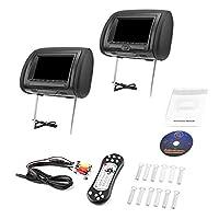 7�?� Black Car DVD/USB/HDMI Car Headrest Monitors with IR Transmitter Internal Speakers Video Games FM Transmitter