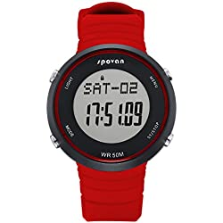 Digital Watch - SPOVAN SPV900 Outdoor Sports Digital Watch with Heart Rate Monitor&Alarm/3D Pedometer/Calories/Mileage Red