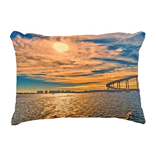 CHKWYN Usa Ca San Diego-Coronado Bay Bridge Decorative Throw Pillow Case Cushion Cover,Cushion Size:18 x 18 inches -