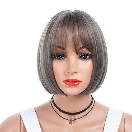 YYJY Perücke Lace Bob Synthetische Perücke Natürliche Gerade Kurze Qualität Perücken Für Frauen Hitzebeständige Faser 10A Seidiges Gerade Haar 360 Lace Frontal Perücken 130% Dichte Mit ()