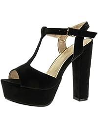 Angkorly - Zapatillas de Moda Sandalias correa Peep-Toe zapatillas de plataforma mujer Hebilla Talón Tacón ancho alto 13 CM - Negro