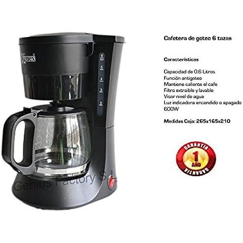 Genius Factory® Cafetera Coffee Maker 0.6L/6 Tazas Independiente Negro Café Molido Agua Caliente