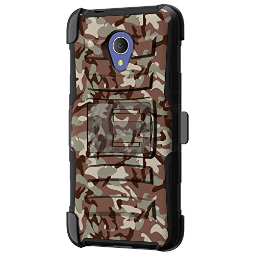 TurtleArmor - kompatibel mit Alcatel 1X Evolve Hülle, IdealXtra Case - TCL LX Hülle [Hyperschock] Armor Solid Hybrid Kickstand Impact Silikon Gürtelclip Cool -, Armee Camouflage (Cricket Cell Phones Android)