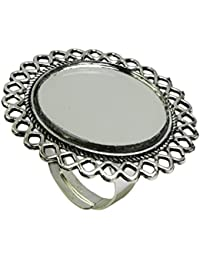 Geode Delight Oxidised Silver Plated Mirror Ring for Women and Girls