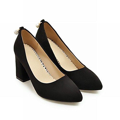 Mee Shoes Damen chunky heels Nubuck Geschlossen Pumps Schwarz
