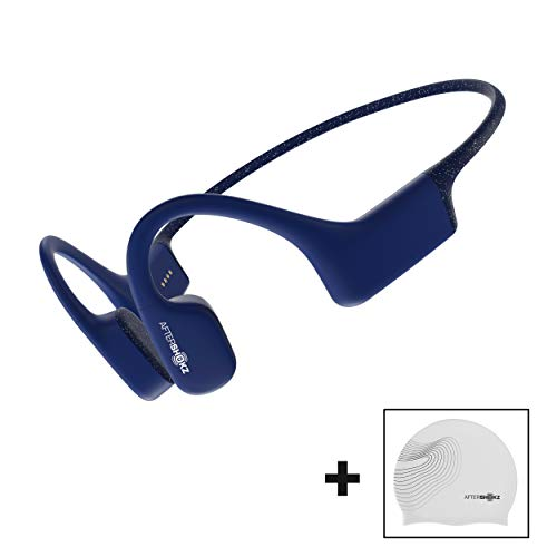 AfterShokz Xtrainerz wasserdichte Kopfhörer zum Schwimmen/Laufen, Wasserdicht MP3 Player, Knochenschall Kopfhörer, Bone Conduction Headphones, Wireless/Ohne Bluetooth/4GB Speicher/Leicht 30g, Blau