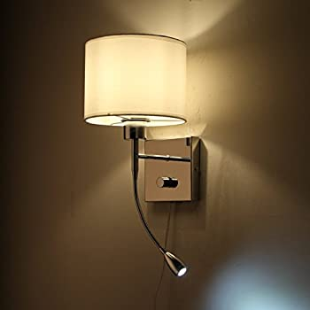 onepre modern plug in bedside wall light hotel style polished chrome wall lamp with flexible 3w