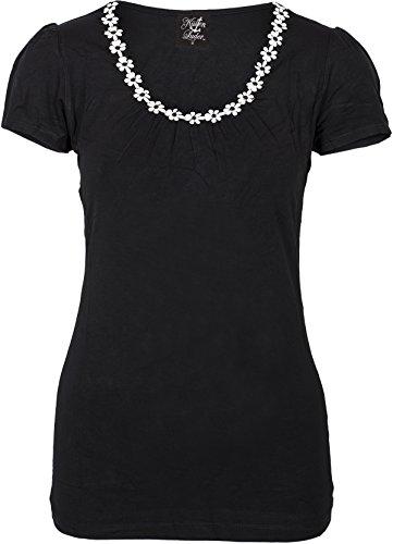 Küstenluder Damen Oberteil Joellen Daisy Gänseblumen Shirt (L, Schwarz) (Daisy Kurzarm-shirt)