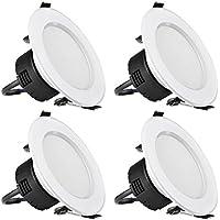 LE 4 Pezzi Plafoniera LED da incasso, Pari incandescenti 75W, 8W 400lm Luce Bianco Caldo 3000K