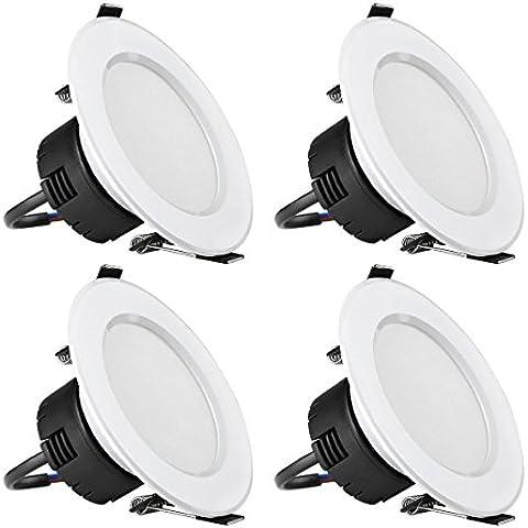 LE Focos empotrables, Ø90mm, 8W = 75W Halógeno, 400lm, blanco cálido, transformador integrado, 4 unidades